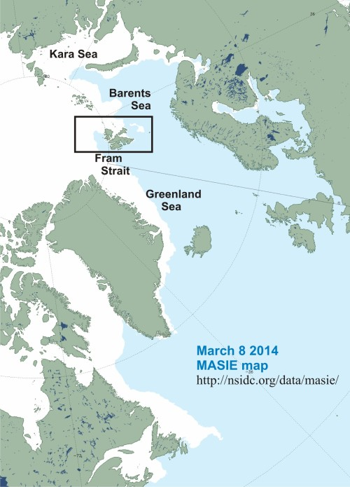 Barents Sea Svalbard MASIE 2014 March 8 labeled