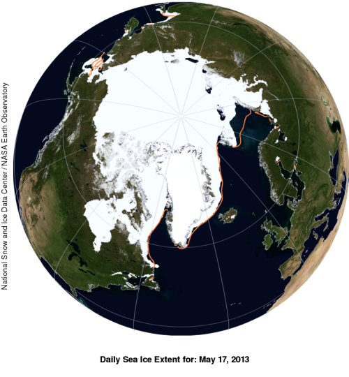 Sea ice extent for May 17, 2013 with anomaly (orange line is the average). Note the greater than average extent of ice in the Bering Sea, in the top left corner.