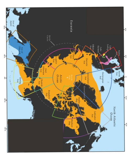"Fig. 2. Map of global ringed seal distribution, from Kelly et al. 2010:61. Note that these authors include the Bering Sea in the ""Chukchi Sea"" population. Click to enlarge."