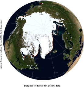 Fig. 1 National Snow and Ice Data Center (NSIDC) sea ice extent at Dec. 6 2012. The orange line is the median extent for this date for 1979-2000.