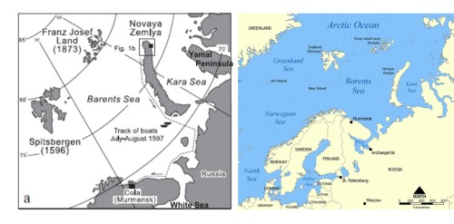 "Figure 1. Location of Novaya Zemlya, in the Barents Sea. On the map at left (a), the black square marks the location of Behouden Huys, the over-winter home of William Barents and his crew (1596-97) on Novaya Zemlya (the ""track of boats"" noted marks the return journey of Barents in the summer of 1597). This is modified from Zeeberg et al. 2002:331. The map on the right is from Wikipedia, for perspective. click to enlarge."