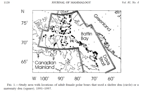 "Figure 4. Study area in the Baffin Bay region reported by Ferguson et al. (2000). The region ranges from about 6o to 800 N latitude. The ""winter's night"" would thus range from none (below the Arctic Circle, that is, below about 660 N) to two months or more (at 76 0 N and higher)."