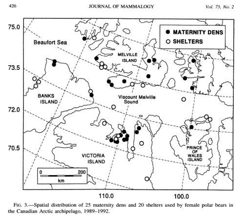 "Figure 3. Study area in the Viscount Melville Sound region, Nunavut, reported by Messier et al. (1994). The region ranges from about 72-76030"" N latitude. The ""winter's night"" at this latitude is about one and a half to two months long, from early-to-mid November through late January-early February."