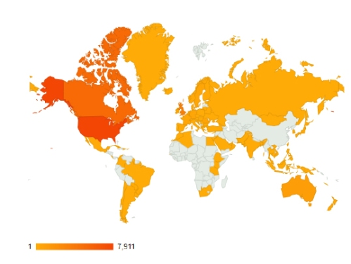 Views of PolarBearScience by country, Aug. 1, 2012 to Jan. 31, 2013