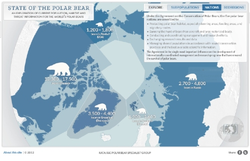 "The ""Nations"" page of the Polar Bear Specialist Group's ""State of the Polar Bear,"" a dynamic summary that can be launched from the home page of the IUCN PBSG  http://pbsg.npolar.no/en/dynamic/app/ [published Oct. 15, 2012] Click to enlarge."