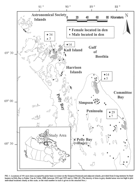 "Figure 2. Study area around Pelly Bay, Nunavut, reported by Van de Velde et al. (2003). The region ranges from about 680N latitude to about 69 045'N. The ""winter's night"" at this latitude is about one month long, from December through early January."