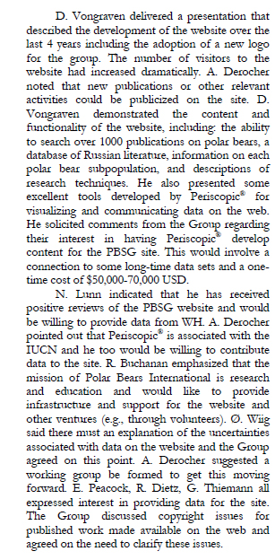Figure 1. Notes from the 2009 PBSG meeting (Obbard et al. 2010:11) about their intention to hire Periscopic as part of on-going PBSG website developments.