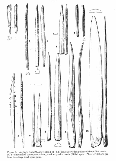 Figure 5. Drawings of some of the bone and mammoth ivory tools from the Zhokov site (from Pitul'ko and Kaparov 1996:9, fig. 6).