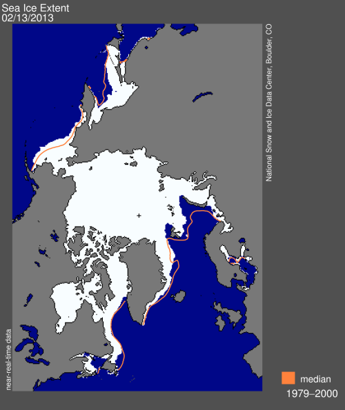 Sea ice extent on February 13, 2013. NSIDC. Click to enlarge.