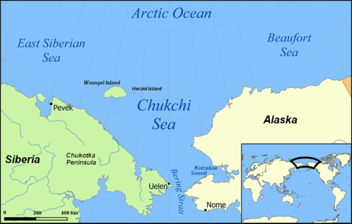 Figure 1. Chukchi Sea – getting you oriented. Note the location of Kotzebue Sound, northeast of the Bering Strait. Map from Wikipedia.