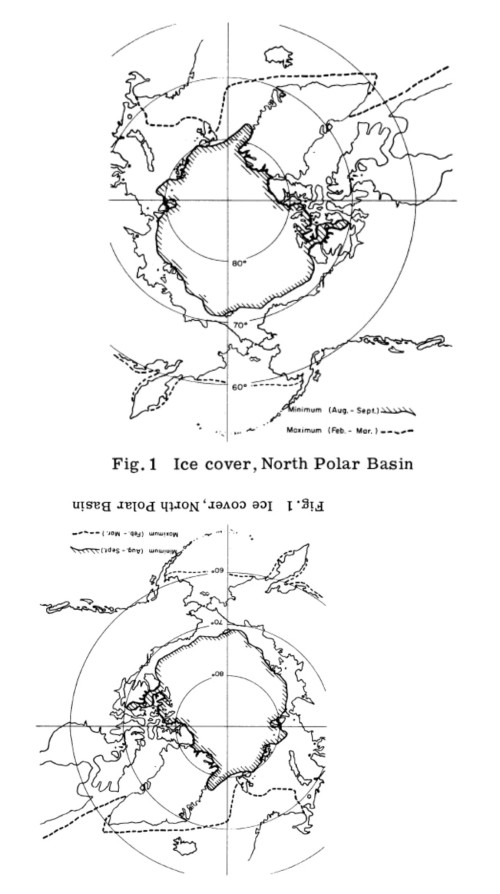 Figure 1. The top image appears to be the average sea ice extent maximum and minimum for the years around 1972, provided in Lentfer 1972. The bottom image is the same one, turned around to better compare with modern sea ice maps.