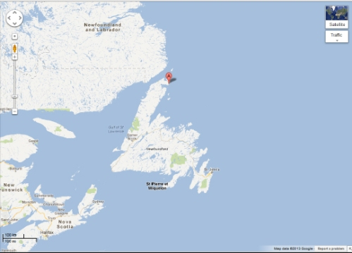 Figure 3. St. Anthony on Newfoundland, eastern Canada. From Google maps.