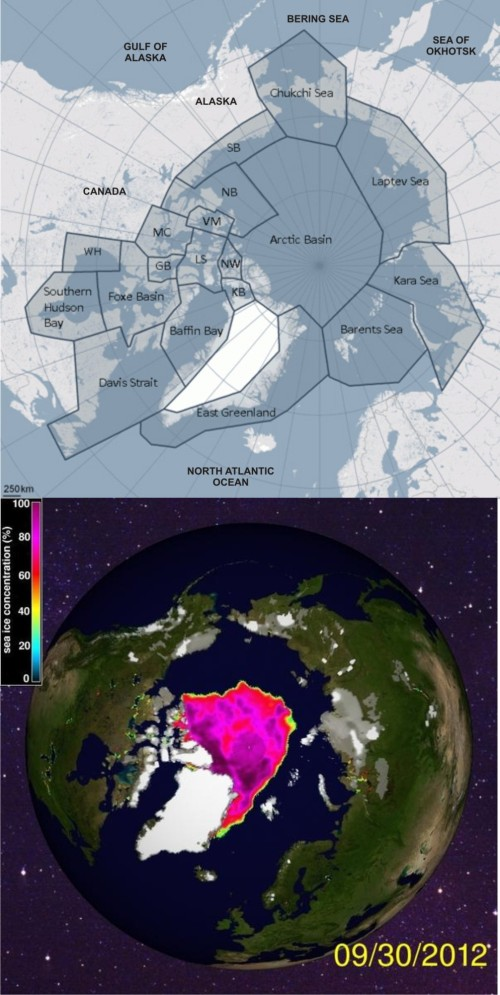 "Figure 2. Polar bear distribution map (adapted from the one provided by the PBSG) compared to sea ice concentration at September 30, 2012 (at the seasonal minimum extent). Can you see the difference? If polar bears were bothered by this kind of seasonal ""decline,"" which slightly exceeded the low reached in 2007, the Arctic would have been littered both years with the bodies of polar bears. Do you remember reports of that in the news? Click to enlarge"