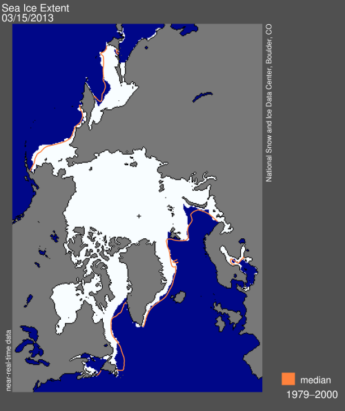 "NSIDC says: ""Arctic sea ice extent on March 15 was 15.13 million square kilometers (5.84 million square miles). The orange line shows the 1979 to 2000 median extent for that day. The black cross indicates the geographic North Pole."""