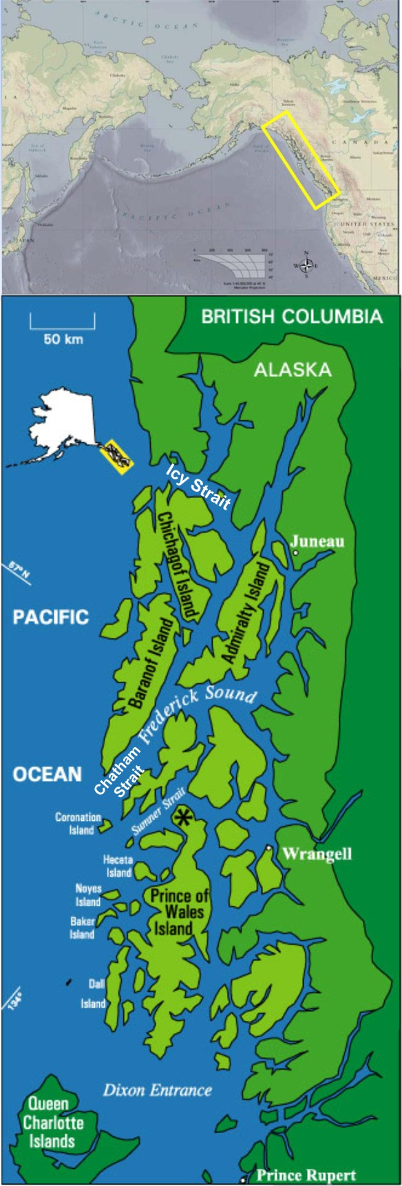 Tims Map Plus World on Prince Of Wales Island Alaska Map