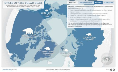 'State of the Polar Bear' graphic Nations> map, screen-cap April 1, 2013. Estimates given add up to 22,600-32,000, much higher than official estimate of 20,000-25,000.