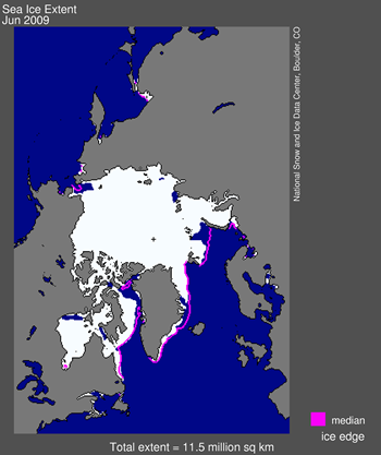 Figure 5. Sea ice extent at June 30, 2009 (NSIDC), the year that polar bears in western Hudson Bay had ice for hunting well into August (as late as in 1992), see previous post here.