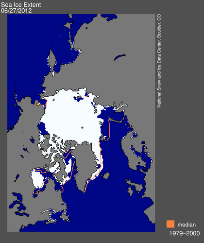Figure 4. Sea ice extent at June 27, 2012 (NSIDC), showing the ice remaining in Hudson Bay and the Chukchi Sea (upper left).