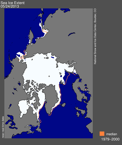 Figure 2. Sea ice extent at May 24, 2013 (NSIDC). Still far more ice than average in the Bering Sea (upper left) and less than average in the Barents Sea (lower right). See previous post here for maps from May 15.