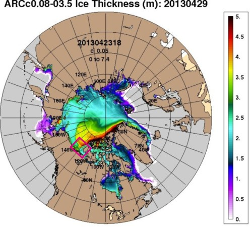 Figure 4. Ice thickness in the Arctic, as of April 27, 2013 (produced by the US Navy). Notice that some of the thickest ice (yellow and red, 3.5-4.5m thick) is curling towards the Eastern Beaufort/Yukon shoreline and western Banks Island (pink square). But see what happened in 2011 (Fig. 5).