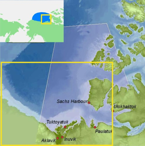 Figure 1. Eastern portion of the southern Beaufort Sea.  The communities of Tuktoyatuk (locally known as 'Tuk'), and Sachs Harbour on southern Banks Island, have been useful starting points for polar bear research because they are accessible by plane via the larger community of Inuvik The light blue portions, e.g. along western Banks Island and the Eastern Beaufort/Yukon mainland coast, indicate shallow continental shelf areas (20 km wide in places) where extensive shorefast ice develops every winter. Main map from Beaufort Sea Partnership, inset map from Wikipedia.