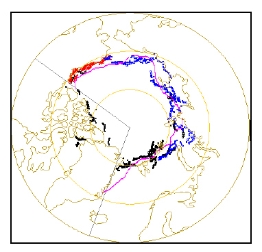 Figure 2. This is Fig. 6 from the Meier et al. 2013 paper. It shows the September 1964 Arctic sea ice edge pieced together from data from Nimbus I (black dots) and ice charts from Alaska (red dots) and Russia (blue). The pink line is the 1979-2000 median ice edge determined from NSIDC microwave data. The straight grey lines indicate the area they had to fill in, using data from the 1979-2000 Sea Ice Index average.
