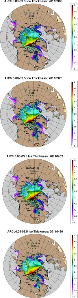 "Figure 5. Ice thickness in the Arctic, as it progressed in the spring of 2011. Top to bottom: March 3, March 20, April 2, April 30 (2011). That bit of black you see in the tongue of multiyear ice (red and yellow) curling towards the shoreline of the Eastern Beaufort/Yukon (around ""140W"" on the maps) is ice that is 5 m  thick! (Note these maps have only been available since 2011, see the Navy NRLSSC archive here)."