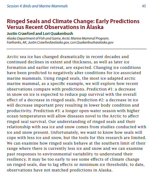 Crawford and Quakenbush_Wakefield Abstract_2013 Ringed Seal_predictions not met