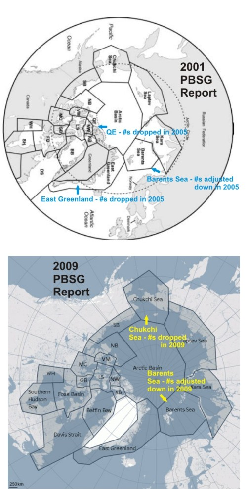 "Polar bear subpopulations as defined by the PBSG: Top, in the 2001 report; Bottom, 2009 report. Map courtesy PBSG, with a few labels added and the subpopulations identified where ""accounting"" changes or adjustments to estimates took place.SB, Southern Beaufort; NB, Northern Beaufort; VM, Viscount Melville; MC, M'Clintock Channel; LS, Lancaster Sound; GB, Gulf of Boothia; NW, Norwegian Bay; KB, Kane Basin; WH, Western Hudson Bay. Click to enlarge."