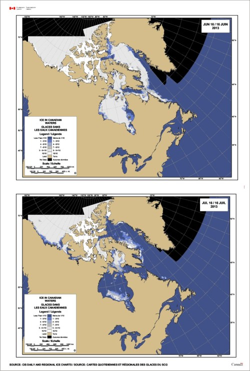 Figure 4. Breakup progression: Hudson Bay sea ice in summer 2013: June 16 2013 (top), July 16 2013 (bottom). Notice that the last of the ice at July 16 sits in the Southern Hudson Bay subpopulation, which means 'breakup' in SHB is not appreciably earlier than in WHB.