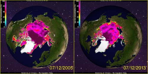 Figure 5. Sea ice concentration maps from Cryosphere Today to compare the sea ice extent and concentration values for 2013 on July 12 to 2005. Note that there was more ice in Baffin Bay in 2005 than in 1992 (Fig. 4); in 1992, there was more ice further south. Notice also how much more 100% ice (dark purple) was concentrated in the central Arctic in 2005 compared to 1992.