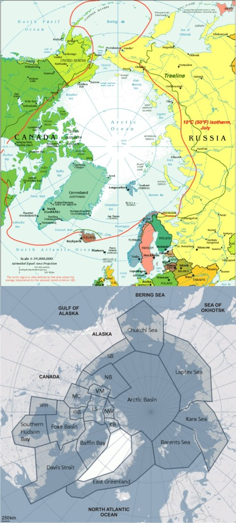 """Figure 1. Boundary limits for """"the Arctic"""" (top map) such as the Arctic Circle (dashed line) or the 100C isotherm for July (solid red line) would not include several polar bear subpopulations that live south of these."""