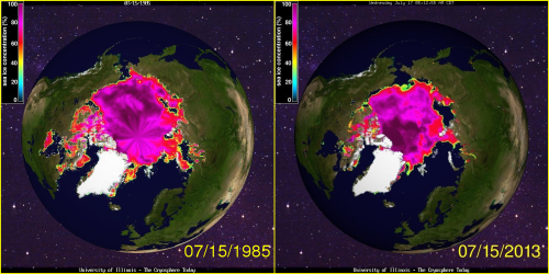Sea ice concentration July 15 1985 and 2013