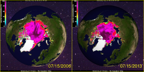 Sea ice conditions were as bad in 2006 (at July 15), above, as they were this year. And in 1985 they were almost as bad. But in 2008 (see below), they were much better. Cryosphere Today, University of Illinois.