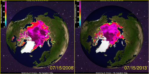 Sea ice concentration July 15 2008 and 2013
