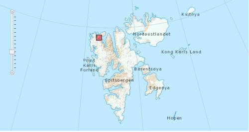 "Figure 1. The Norwegian newpaper, The Local (Aug. 7, 2013), identifies the location that the bear was found as ""a small island near Texas Bar"" (marked by the square on the above map) in the very north of Spitsbergen and states it was found on July 7 – details other reports did not bother to include. To have been 250km south of that position in April (when he was tagged), he must have left the ice near the southern tip of Spitsbergen when there was still lots of ice further north."