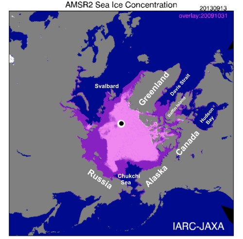 Figure 2. This JAXA plot uses the date the 2013 minimum was reached (September 13, 5.10 million square kilometers) which now looks pink because of the overlay (purple) for October 31, 2009. Note that by that date in 2009, virtually all regions of the Arctic where polar bears reside had ice available that could be used as a hunting platform. The exceptions were  western and southern Hudson Bay (where bears had to wait another 5 weeks before they could resume hunting), and Davis Strait and Chukchi bears (who had to wait another 2-3 weeks). Click to enlarge.