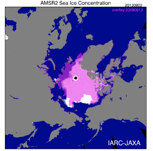 "Figure 1. Using the JAXA ""Sea ice monitor"" feature, I plotted the date the 2013 minimum was reached (September 13, 5.10 million square kilometers, white) with an overlay (purple) for the same date back in 2009 (September 13, 2009, 5.13 million square kilometers), when that year's minimum was reached (according to the NSIDC report). Areas of overlap are pink."