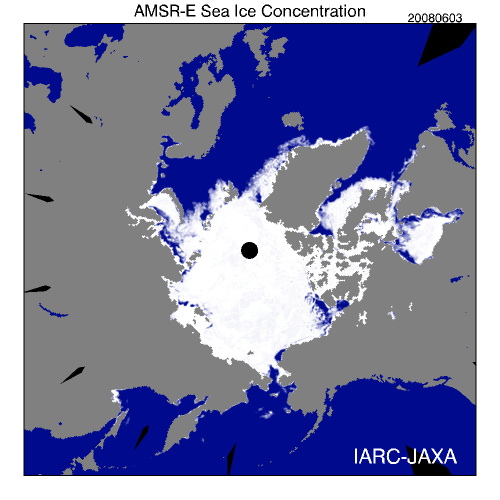 Figure 2. Sea ice extent at the beginning of summer 2008 (June 3: downloaded Sept. 14, 2013 from IARC-JAXA, Arctic Sea-ice Monitor), when the sea ice started to break up in the western Arctic.