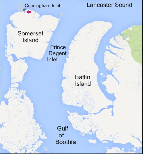 Figure 1. Map showing the location of Cunningham Inlet, where the Arctic Watch footage was filmed, in relation to Gulf of Boothia.