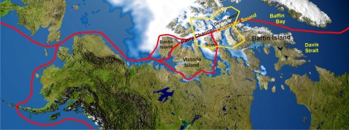 Figure 2. The main Northwest Passage route starts at Lancaster Sound and runs east through Parry Channel because these waterways routinely clear of ice in late summer. The approximate boundary of the Lancaster Sound polar bear subpopulation (area ~490,000 km2) is marked in yellow; POW is Prince of Wales Island. Map from Wikipedia, labels added.