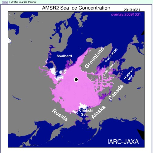 Figure 2. Difference between sea ice extent at October 31 2013 (white) and October 31 2019 (purple). This year, there was at bit more in the Chukchi and Kara Seas than in 2009 (the white areas) but less in the Barents Sea around Svalbard and western Canada (the dark purple); pink areas had ice both years. Map from JAXA (Japan Aerospace Exploration Agency). Click to enlarge.