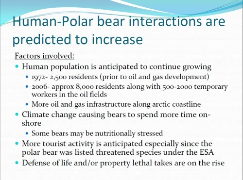 "Figure 2. From T. Hepa 2011. Slide 3 from ""Human-polar bear interactions in Northern Alaska."" Presentation to the 2011 Polar Bear Meeting in Nunavut, USA contingent. Oct 24-26, 2011."