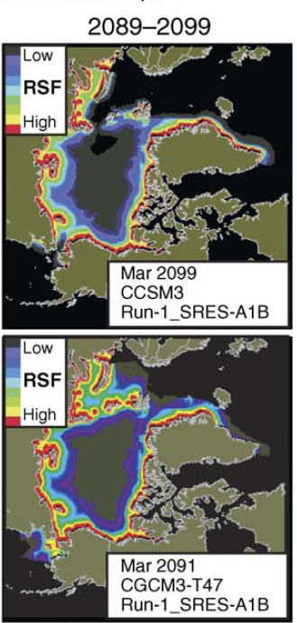 Fig. 2 Excerpt of winter ice projections from Durner et al. 2009 (Figure 8c), showing an ice-free Bering Sea in 2099 and a more typical projection for that decade below (for 2091, showing ice south of the Bering Strait).