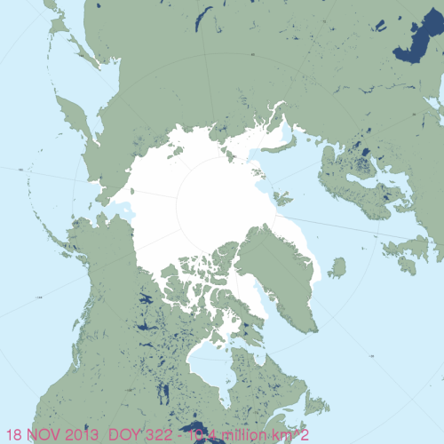 Figure 1. MASIE sea ice extent for November 18, 2013 (using US National Ice Center data). You have to look closely but there is indeed ice forming around Svalbard (just above the tip of Greenland) and in James Bay (southern Hudson Bay). Click to enlarge. High resolution map here.