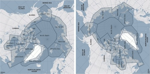 Figure 1. Polar bear subpopulations defined by the IUCN Polar Bear Specialist Group (PBSG), with a few extra labels added. I've rotated the original map 90 degrees (right) to make it easier to relate to the ice maps below. WH is Western Hudson Bay. Courtesy PBSG.  Click to enlarge.