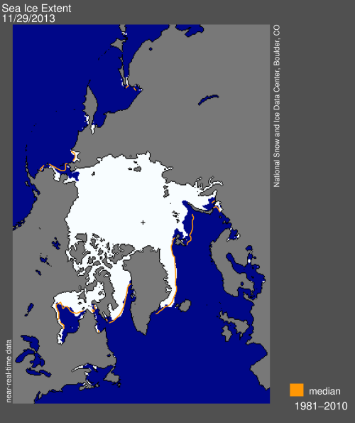 Sea ice extent 2013 Nov 29 2013 NSIDC