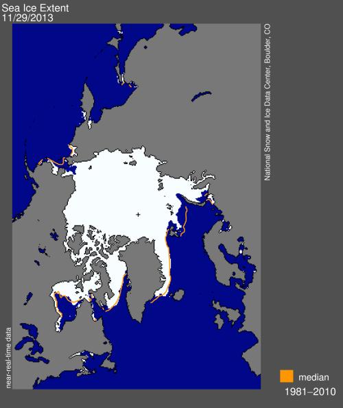Sea ice extent 2013 Nov 29 2013 NSIDC