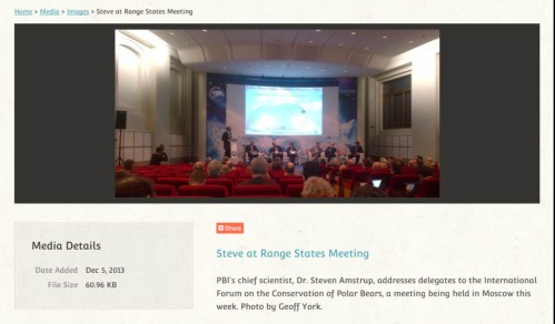 Screencap of the photo details posted on the Polar Bears International website Dec. 5 2013, taken by WWF representative Geoff York, who should not been attending this portion of the meeting.