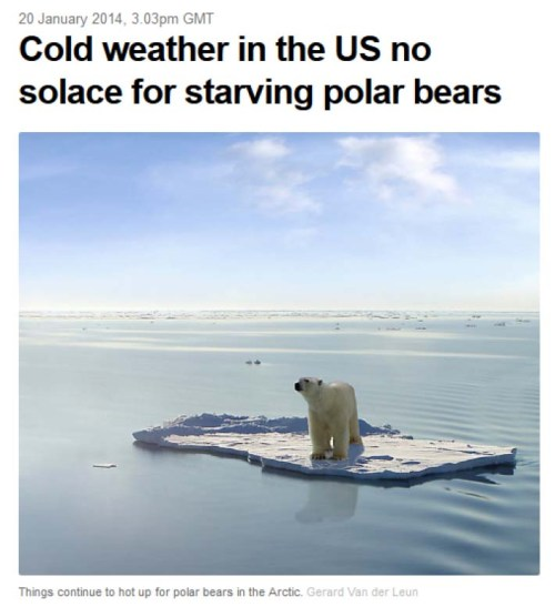 "Figure 1. The headline photo from Steven Amstrup's article at The Conversation. This infamous ""Ursus bogus"" image (for sale at IStock photos, listed under ""Global warming images""), says ""This image is a photoshop design. Polarbear, ice floe, ocean and sky are real, they were just not together in the way they are now."""